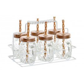 SET DE 6 MINI JARRAS CON SOPORTE